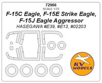 F-15C Eagle, F-15E Strike Eagle, F-15J Eagle Aggressor (Hasegawa) - (double sided) + wheels masks - Image 1