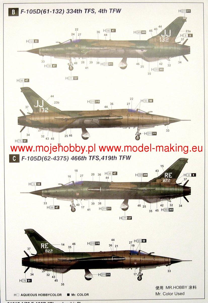 Trumpeter-Modellino Republic F-105D Thunderchief Scala 1:72 Tru01617