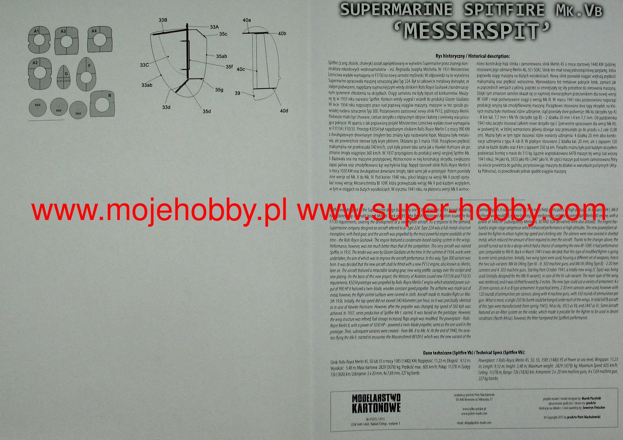 Elicottero 007 : Spitfire mk.vb messerspit modelarstwo kartonowe 007